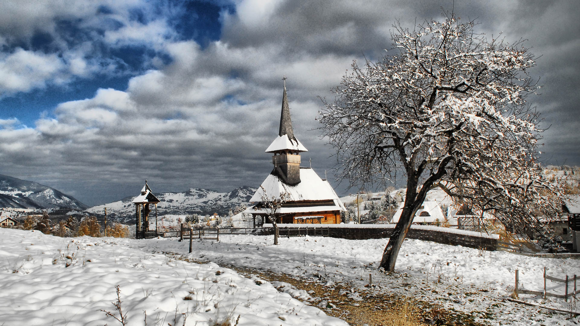 winter village church